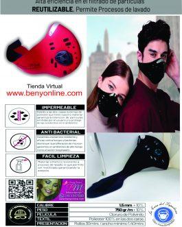 Tela Kopreno no Tejida + Válvulas de exhalación+1 Filtro Carbón Activo  ( +1 Filtro Adicionado Gratis)